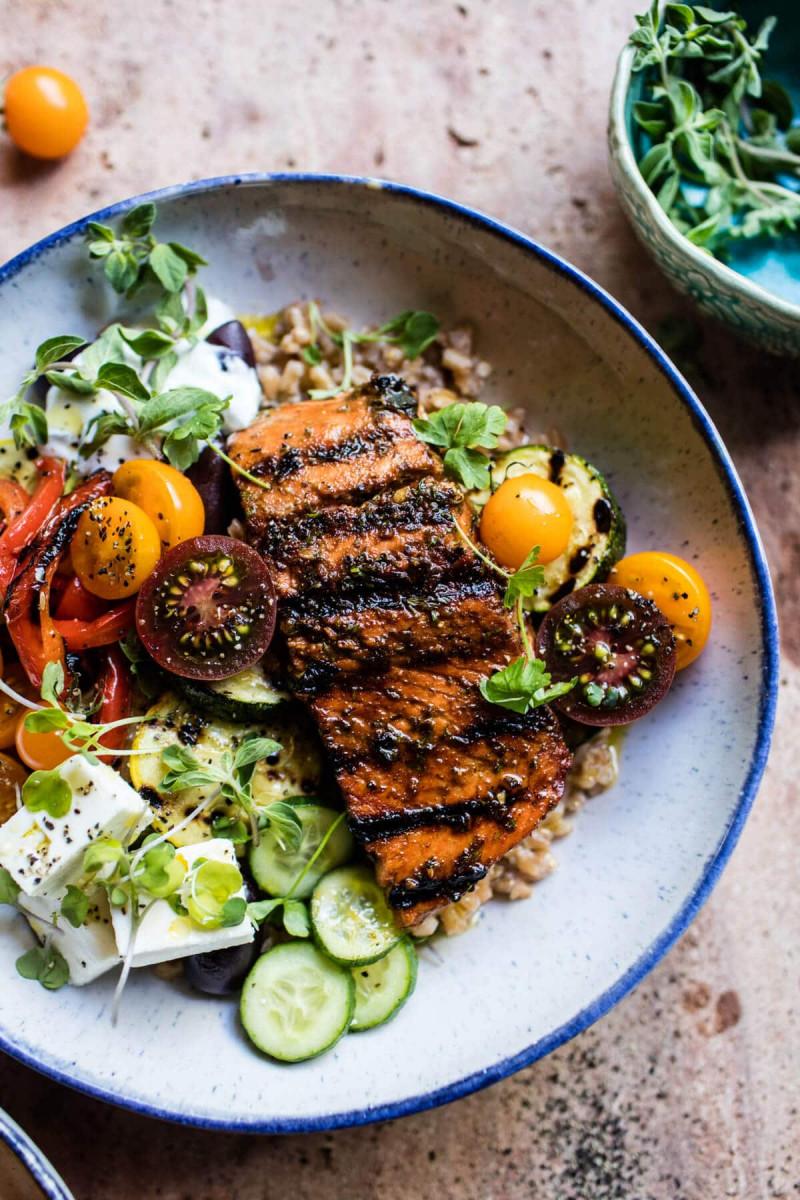 Healthy Salmon Souvlaki Bowls 1