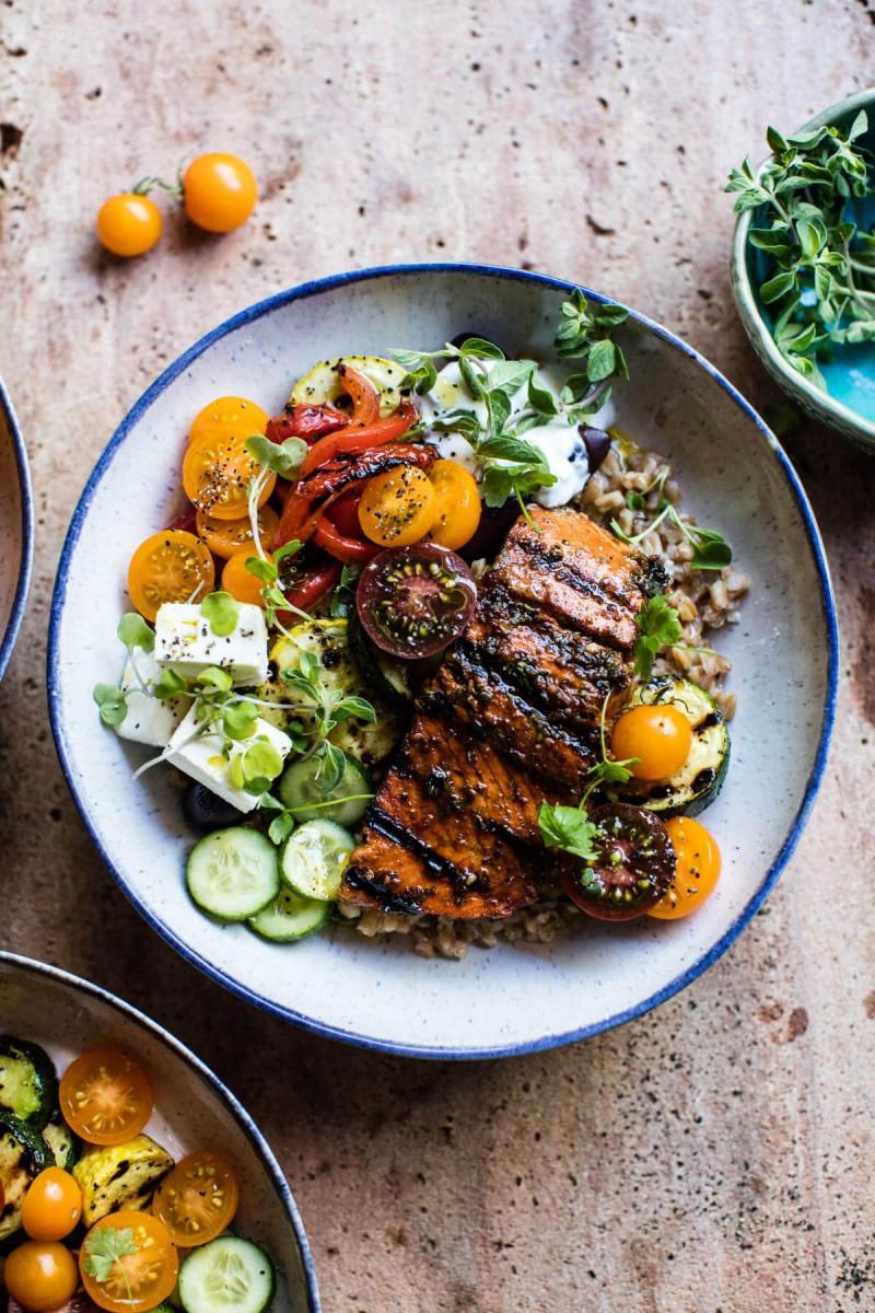 Healthy Salmon Souvlaki Bowls