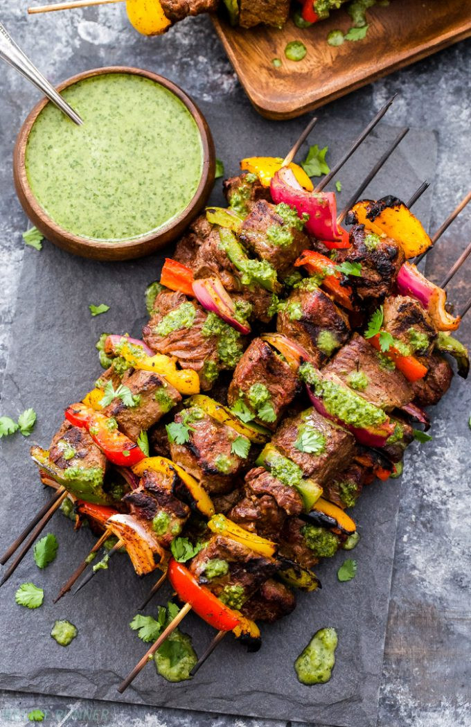 Steak Fajita Skewers with Cilantro Chimichurri 1