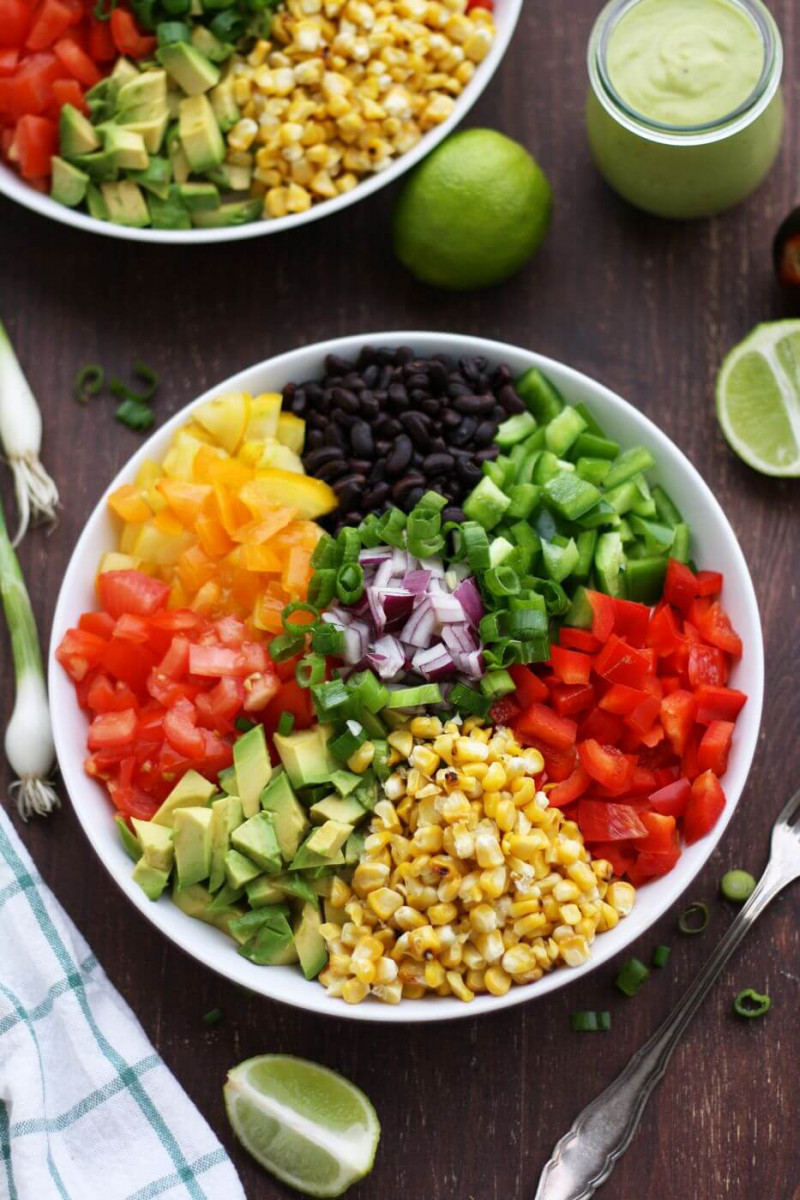 Vegan Mexican Chopped Salad with Avocado Dressing 1