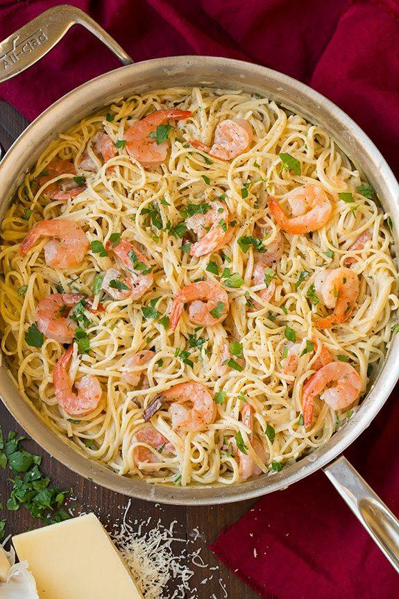 Creamy Parmesan Linguine With Shrimp