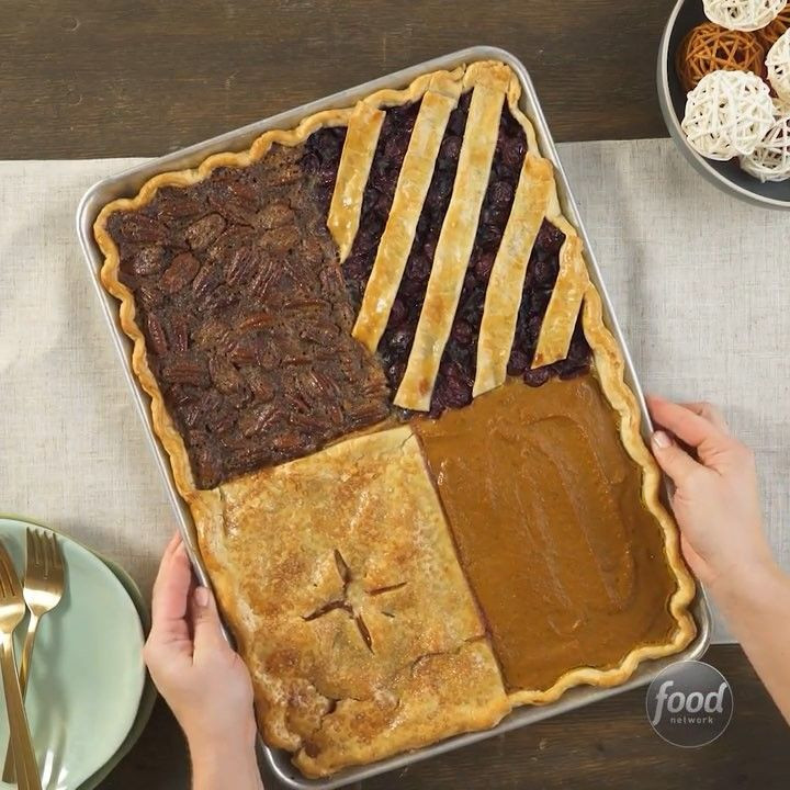 """4 Thanksgiving Pies On One Sheet Tray  Food Network on Instagram """"4 Thanksgiving Pies on ONE"""