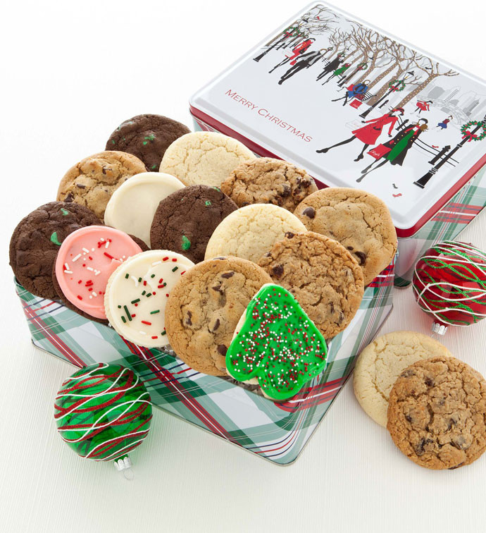 Assorted Christmas Cookies  Holiday Cheer Gift Tin Merry Christmas Assorted Cookies