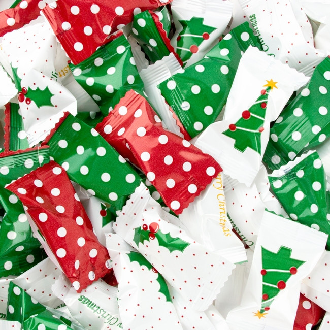 Bulk Individually Wrapped Christmas Candy  Christmas Dotted Wrapped Buttermints • Wrapped Candy