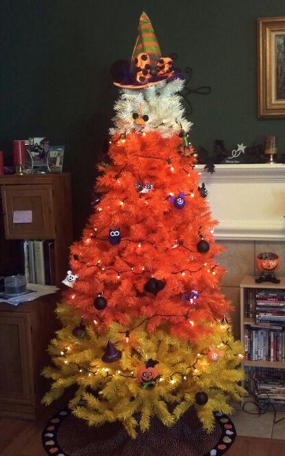 Candy Corn Christmas Tree  Tree Decorating Ideas for Halloween Treetopia Blog