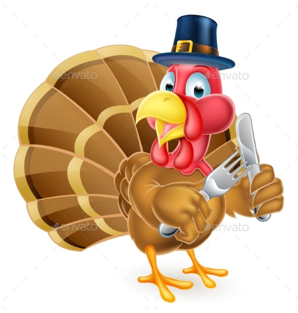 Cartoon Picture Of Turkey For Thanksgiving  Pilgrim Hat Thanksgiving Cartoon Turkey Holding by Krisdog