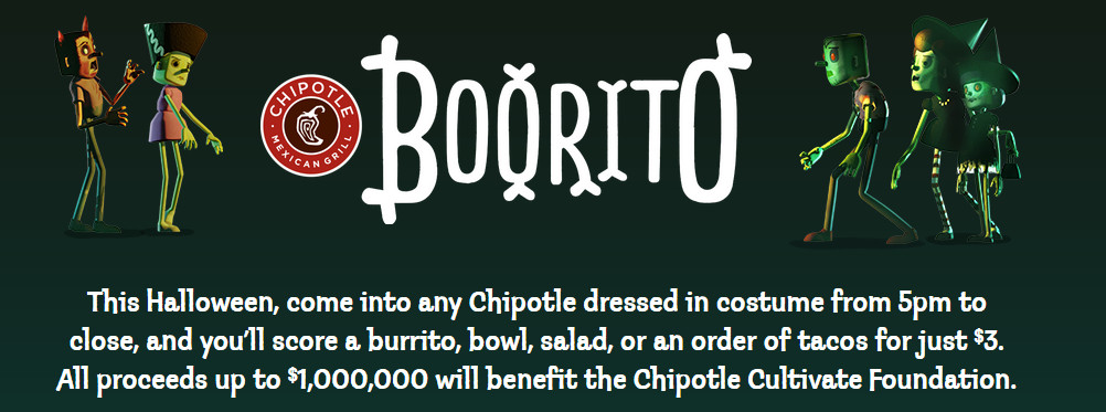 Chipotle 3 Dollar Burritos Halloween  Chipotle Halloween Deal $3 Entrees from 5pm to Close on