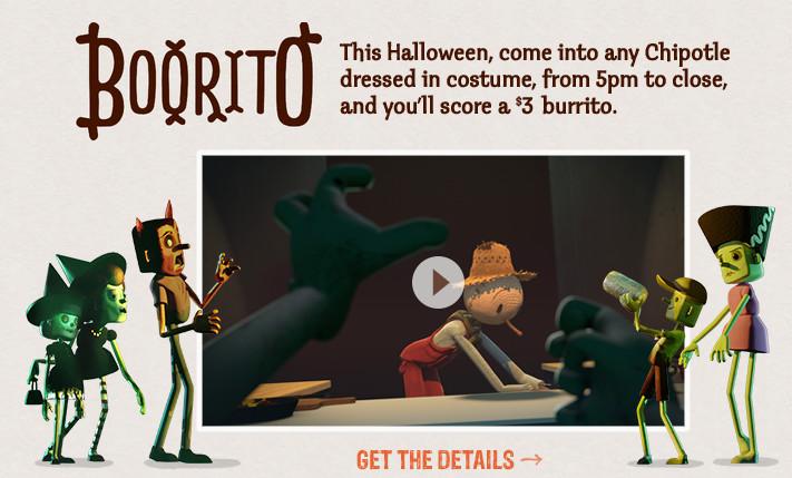 Chipotle 3 Dollar Burritos Halloween  Chipotle $3 Burrito on Halloween when you Dress up