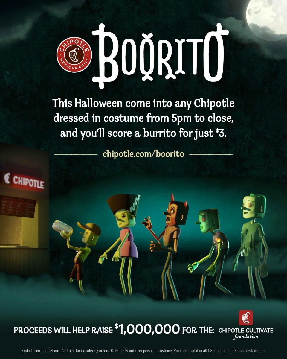 Chipotle 3 Dollar Burritos Halloween  Chipotle Celebrates Halloween with Boorito OC foo s