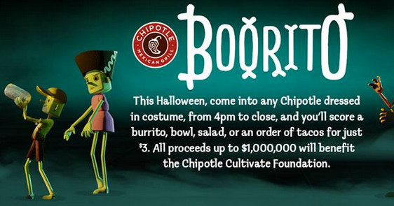 Chipotle 3 Dollar Burritos Halloween  Chipotle $3 Burritos Bowls and More October 31 My