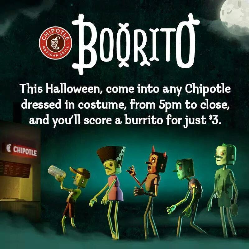 Chipotle 3 Dollar Burritos Halloween  DON T MISS OUT ON THESE HALLOWEEN TREATS EAT WITH HOP