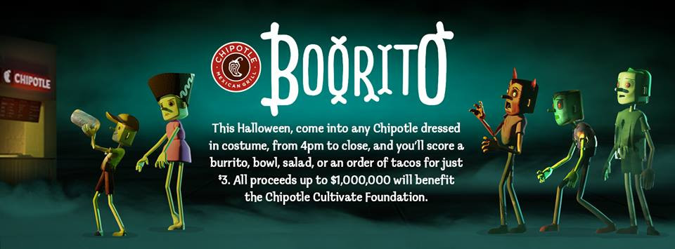 Chipotle 3 Dollar Burritos Halloween  Halloween Chipotle Boorito $3 Deal Mission to Save