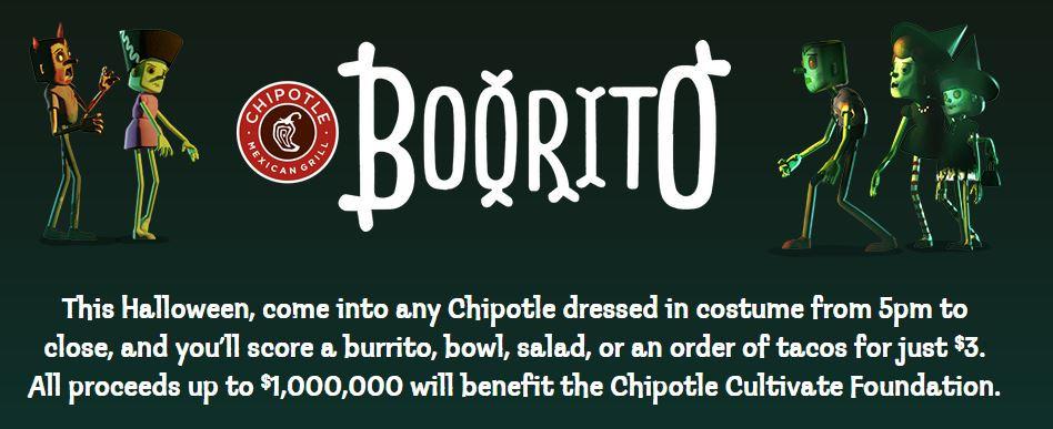 Chipotle 3 Dollar Burritos Halloween  Sofritas Rolling Now in Orlando Chipotle Spork Orlando