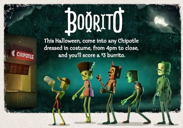 Chipotle 3 Dollar Burritos Halloween  News Chipotle e in Costume for $3 Burrito on