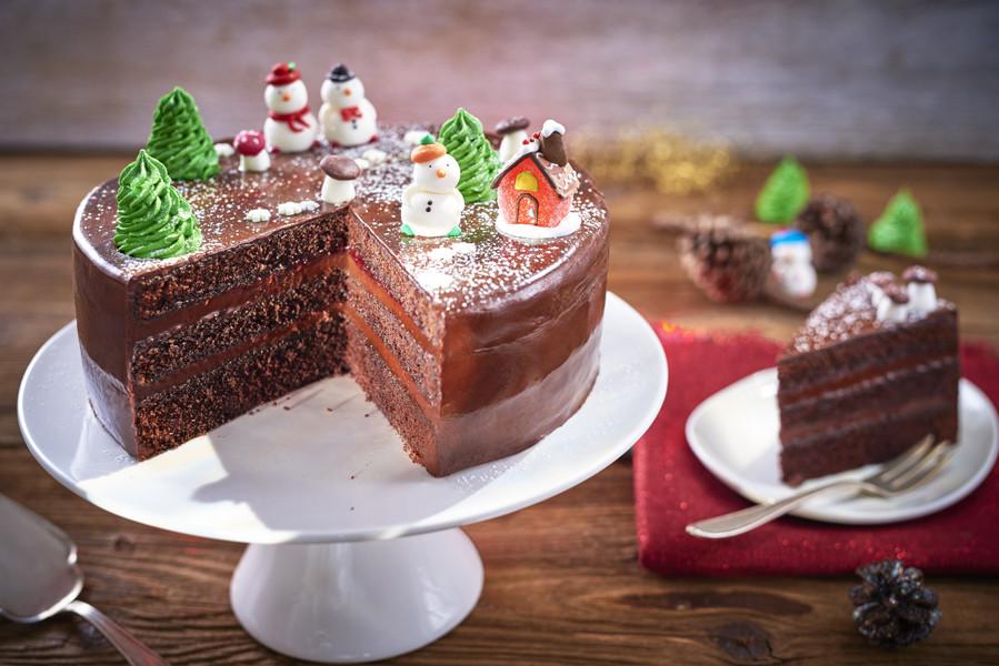 Chocolate Christmas Cake  Chocolate Christmas Cake Bake With Stork