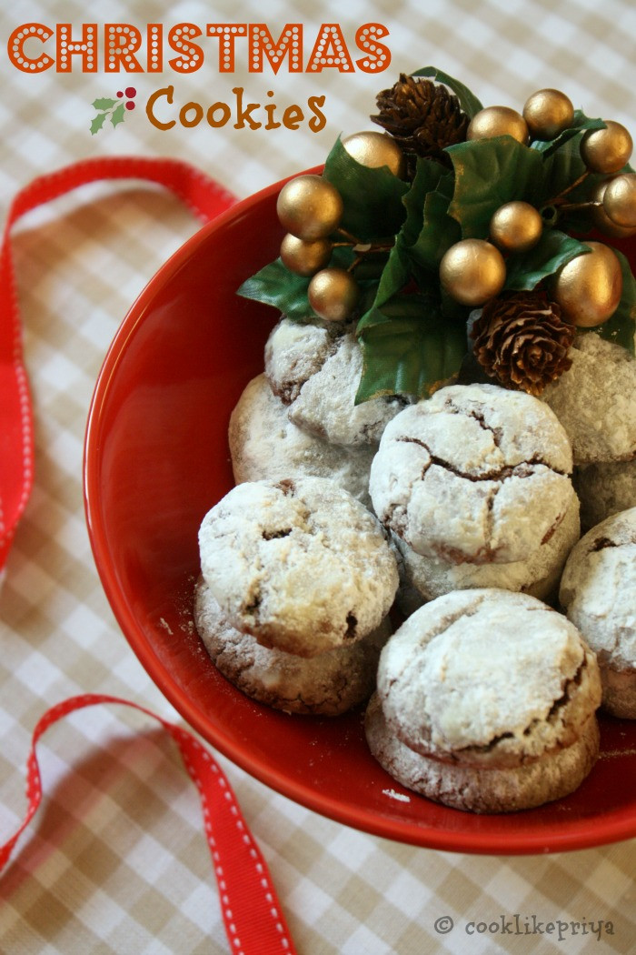 Chocolate Christmas Cookies Recipe  Cook like Priya Chocolate Crinkles