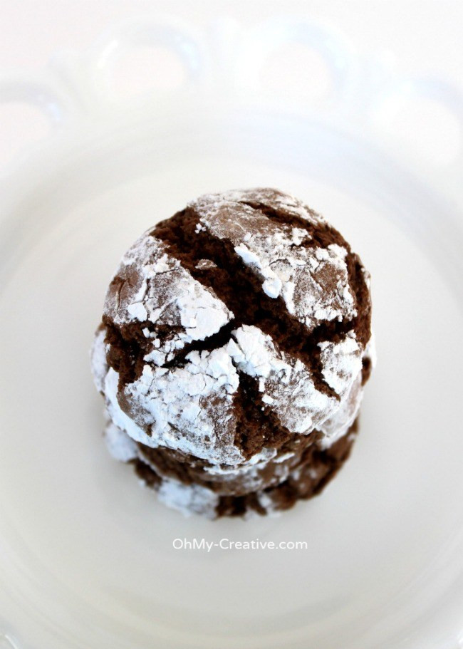 Chocolate Christmas Cookies With Powdered Sugar  Chocolate Crinkle Cookies Chocolate Snowball Cookie Oh