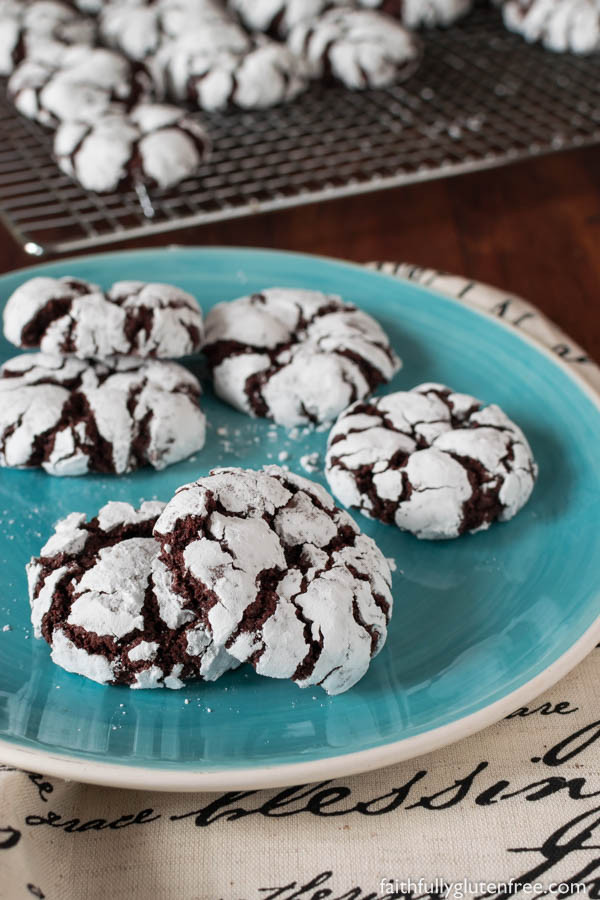 Chocolate Christmas Cookies With Powdered Sugar  Fudgy Gluten Free Chocolate Crinkle Cookies Faithfully