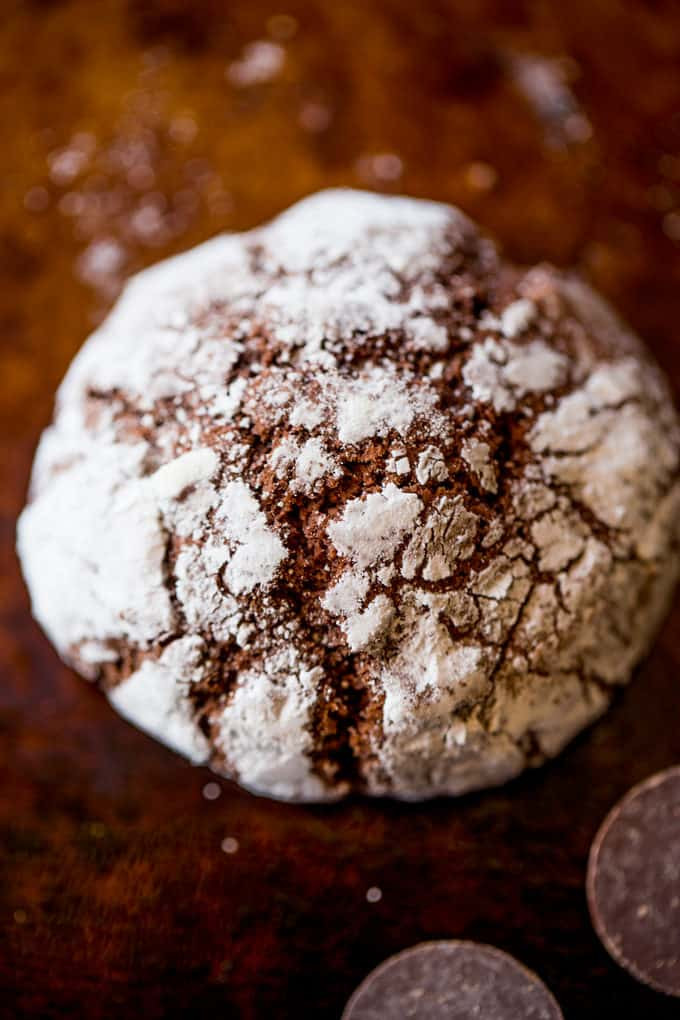 Chocolate Christmas Cookies With Powdered Sugar  Dark Chocolate Crinkle Cookies Dinner then Dessert