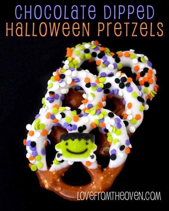 Chocolate Covered Pretzels Halloween  Chocolate Covered Halloween Pretzels Love From The Oven