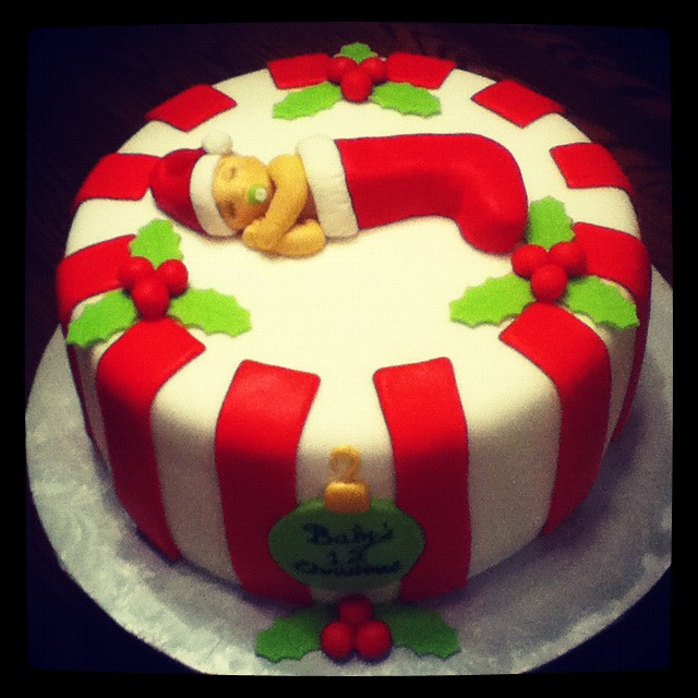 """Christmas Baby Shower Cakes  Bellissimo Specialty Cakes """"Baby s First Christmas"""" 12 12"""