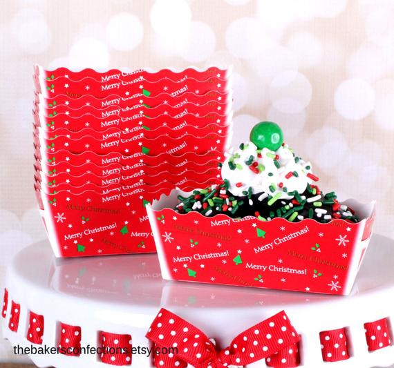 Christmas Baking Pans  MINI Christmas Loaf Baking Pans in Red with Merry Christmas