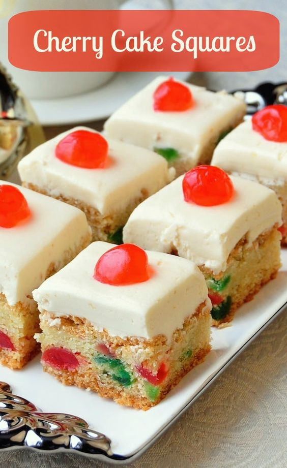 Christmas Baking Squares  Cherry Cake Squares Recipe
