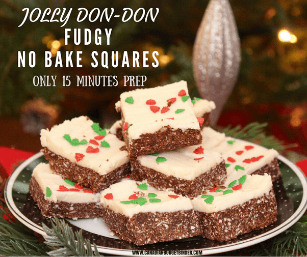 Christmas Baking Squares  Jolly Don Don Fudgy No Bake Squares Canadian Bud Binder