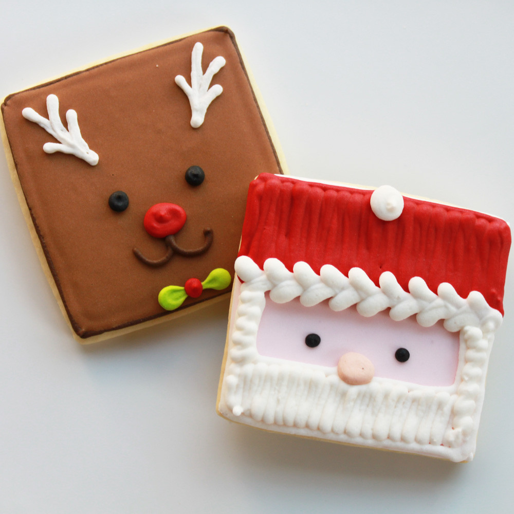 Christmas Baking Squares  Reindeer and Santa cookies handmade by Whipped Bakeshop