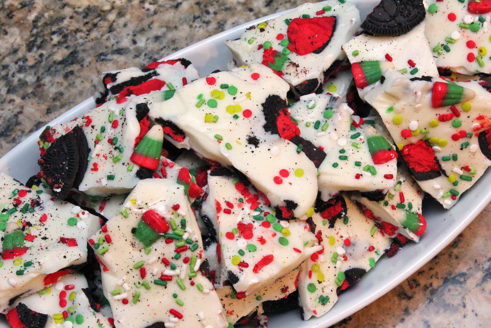 Christmas Bark Candy Recipes  booturtle s show and tell Christmas Candy Corn and Oreo Bark