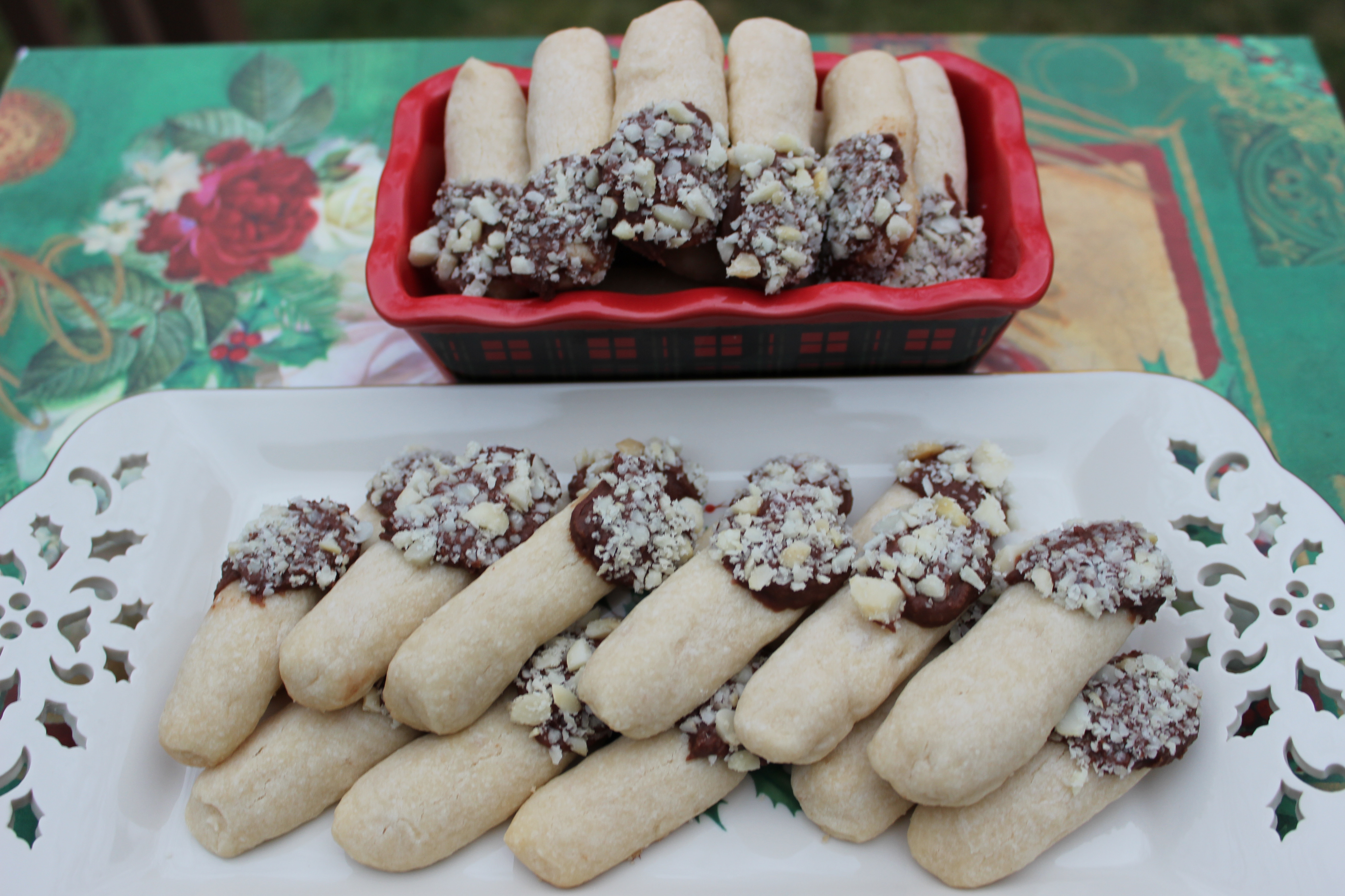 Christmas Butter Cookies  Christmas Butter Cookie Logs tipped in milk chocolate and