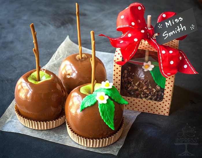 """Christmas Candy Apple Ideas  """"Totally Cool For School"""" Dipped Caramel Apples with Cut"""