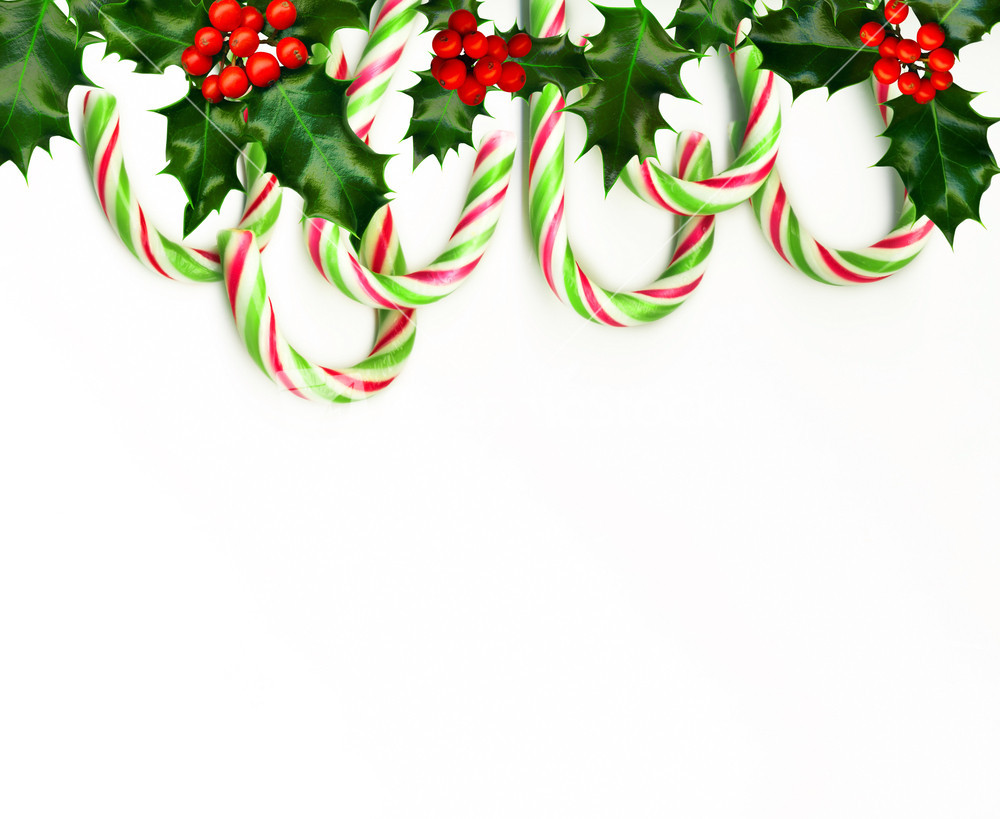 Christmas Candy Border  Christmas Border With Candy Canes Isolated White