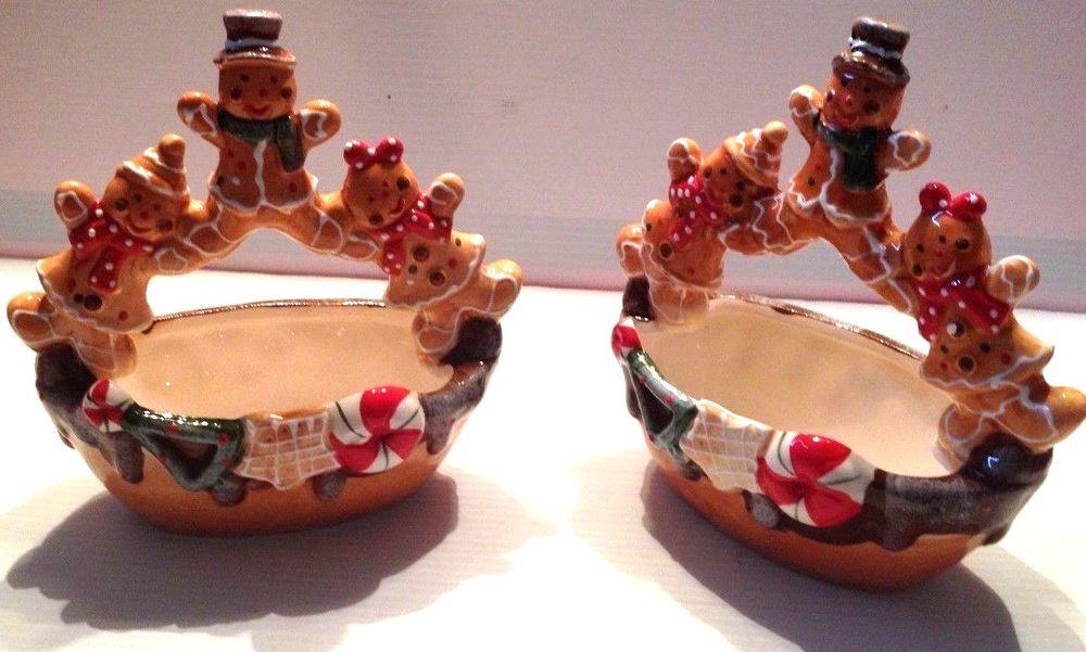 Christmas Candy Bowl  2 VINTAGE CHRISTMAS BROWN CANDY bowl