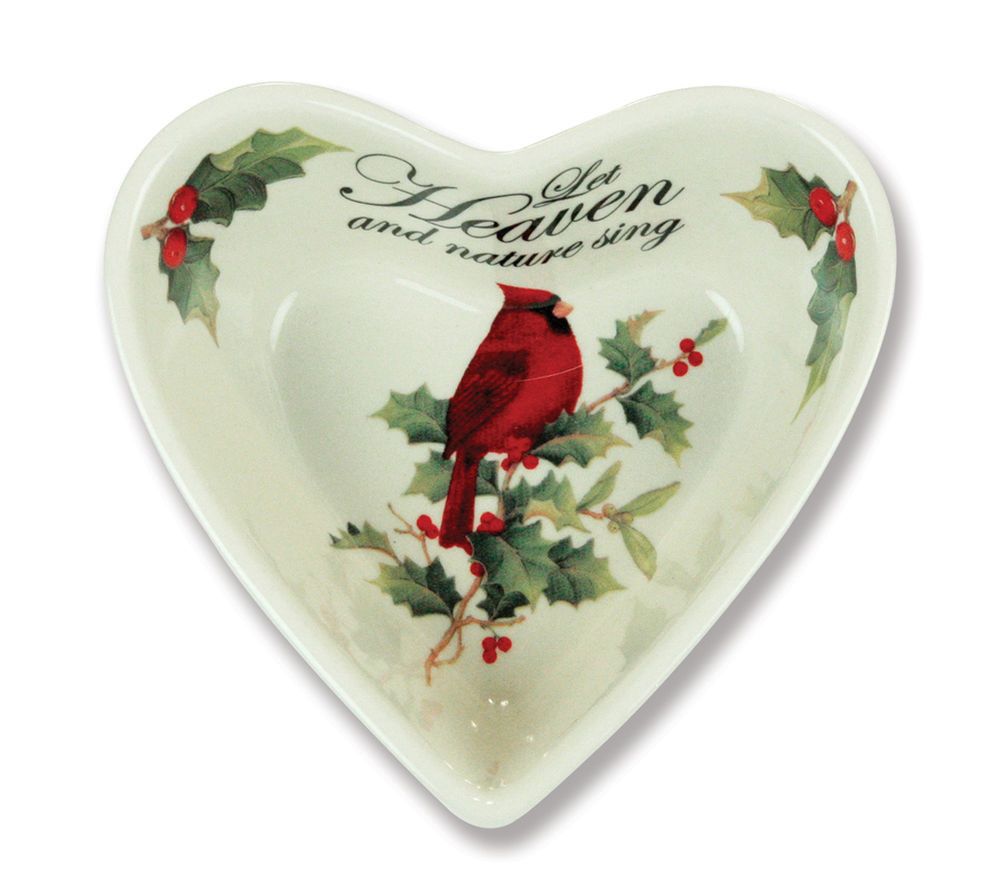 Christmas Candy Bowl  Christmas Holiday Heart Shaped Bowl Candy Dish Set 2