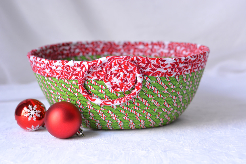 Christmas Candy Bowl  SALE Christmas Candy Basket Handmade Holiday Bowl