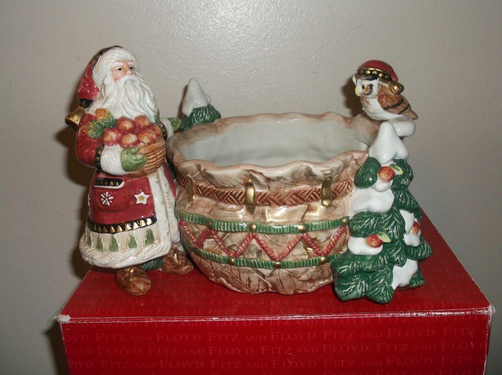 Christmas Candy Bowl  Fitz & Floyd Christmas Lodge Santa Claus and Owl Tidbit