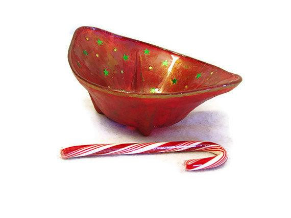 Christmas Candy Bowl  Holiday Bowl Christmas candy dish glass candy by