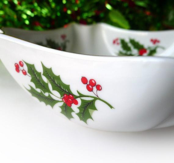 Christmas Candy Bowl  Vintage Christmas Candy Dish or Bowl for Snacks by