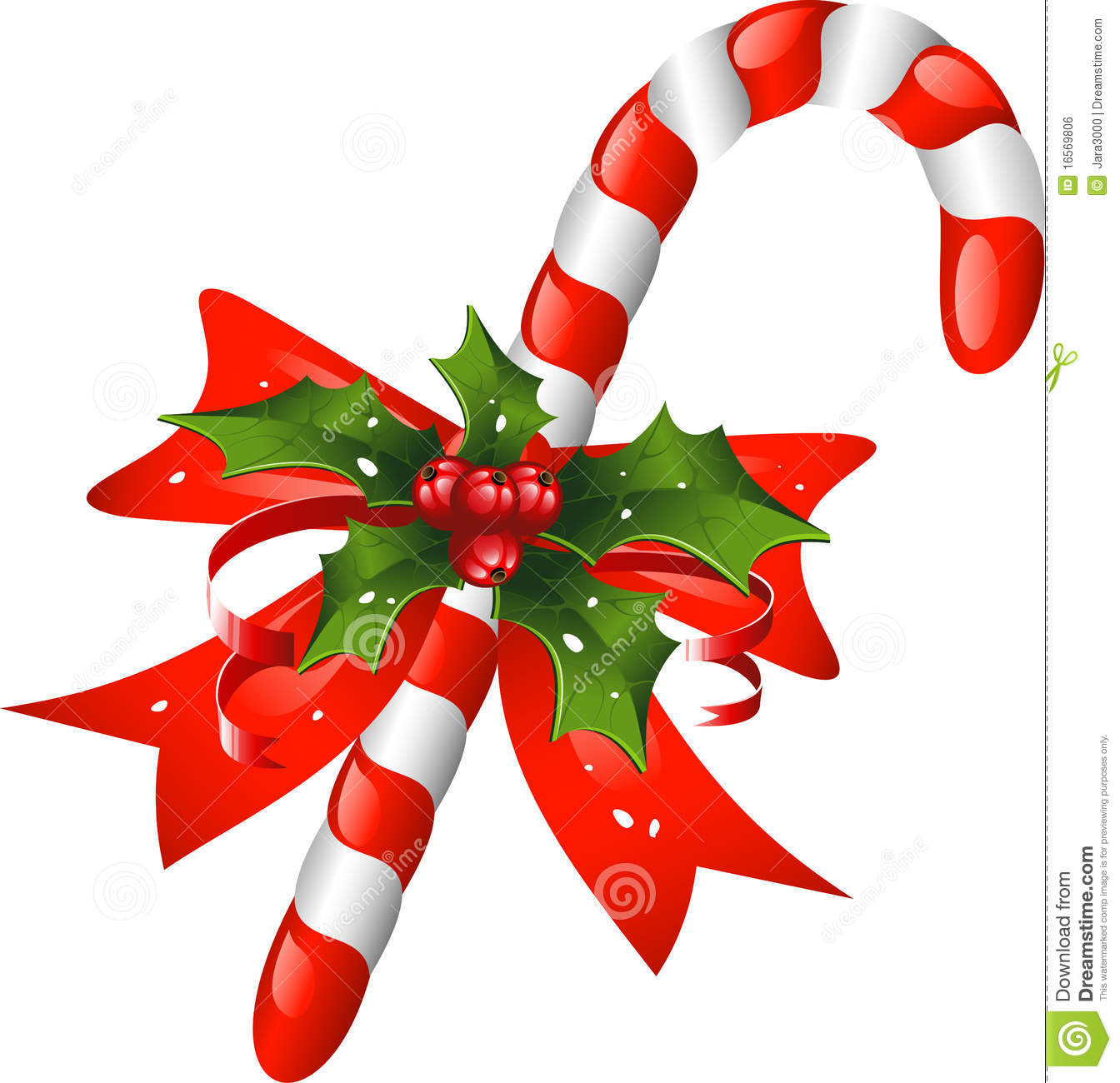 Christmas Candy Cane Images  Christmas Candy Cane Decorated With A Bow And Holl Stock