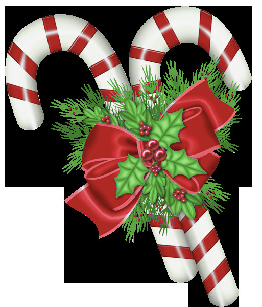 Christmas Candy Cane Images  Transparent Christmas Candy Canes with Mistletoe PNG