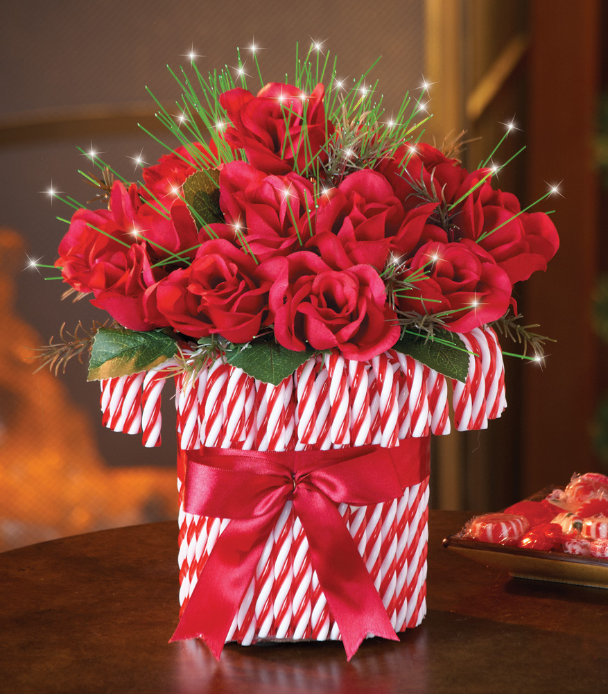 Christmas Candy Centerpieces  Red Roses Bouquet in Red and White Candy Cane Vase