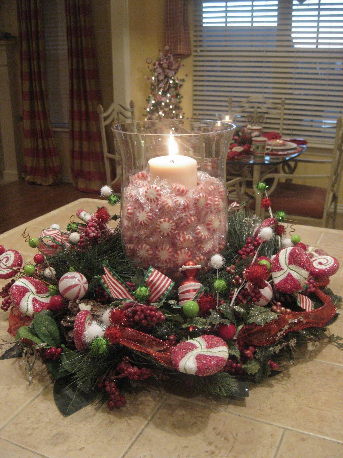 Christmas Candy Centerpieces  Peppermint Centerpiece Tablescapes Centerpieces
