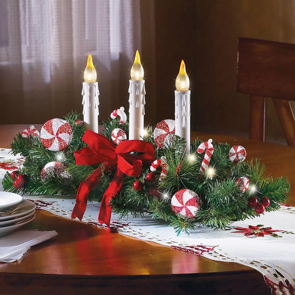 Christmas Candy Centerpieces  Candy Cane Flameless Candle Holiday Centerpiece Christmas