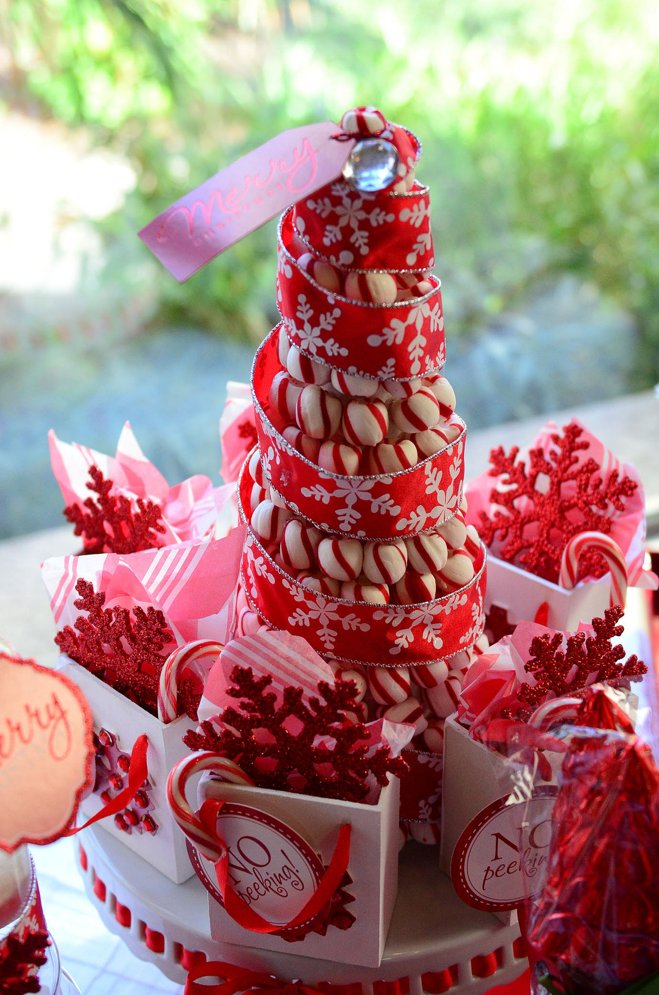Christmas Candy Centerpieces  Glittering Red & White Christmas Party