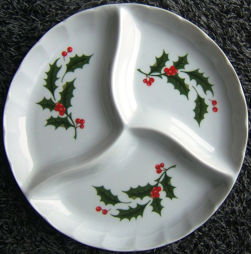 Christmas Candy Dish  Christmas Green Holly Red Berries Relish Dish Candy Dish