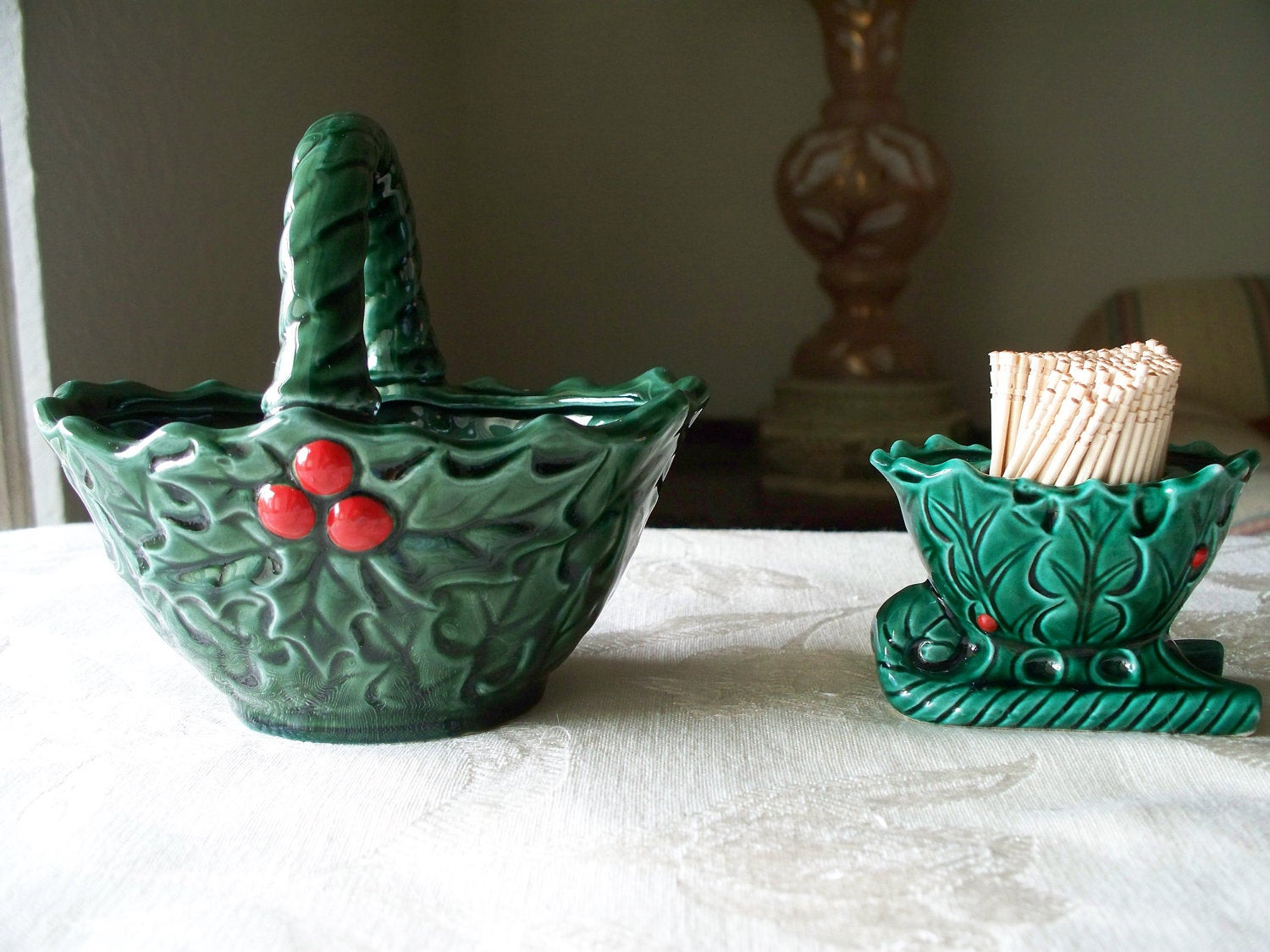 Christmas Candy Dish  Vintage Ceramic Christmas Holly Candy Dish by