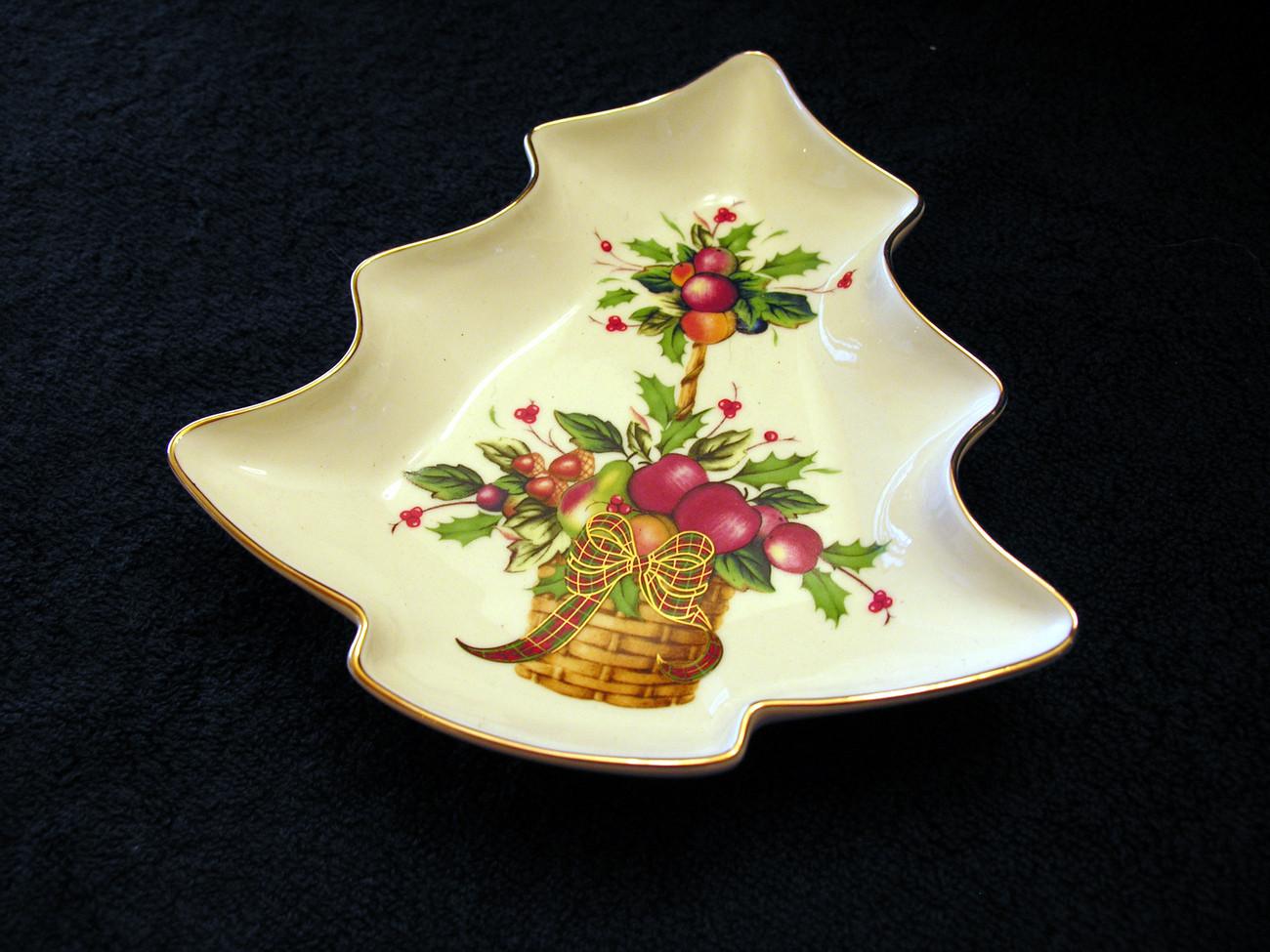 Christmas Candy Dish  Lenox Holiday Tartan Pattern Christmas Tree Candy Dish Lenox