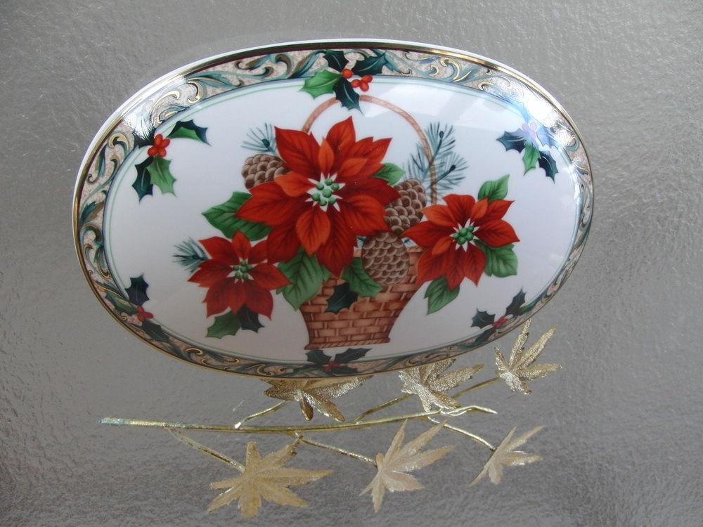 Christmas Candy Dish  MIKASA Oval Poinsettia CHRISTMAS Candy Dish Ceramic
