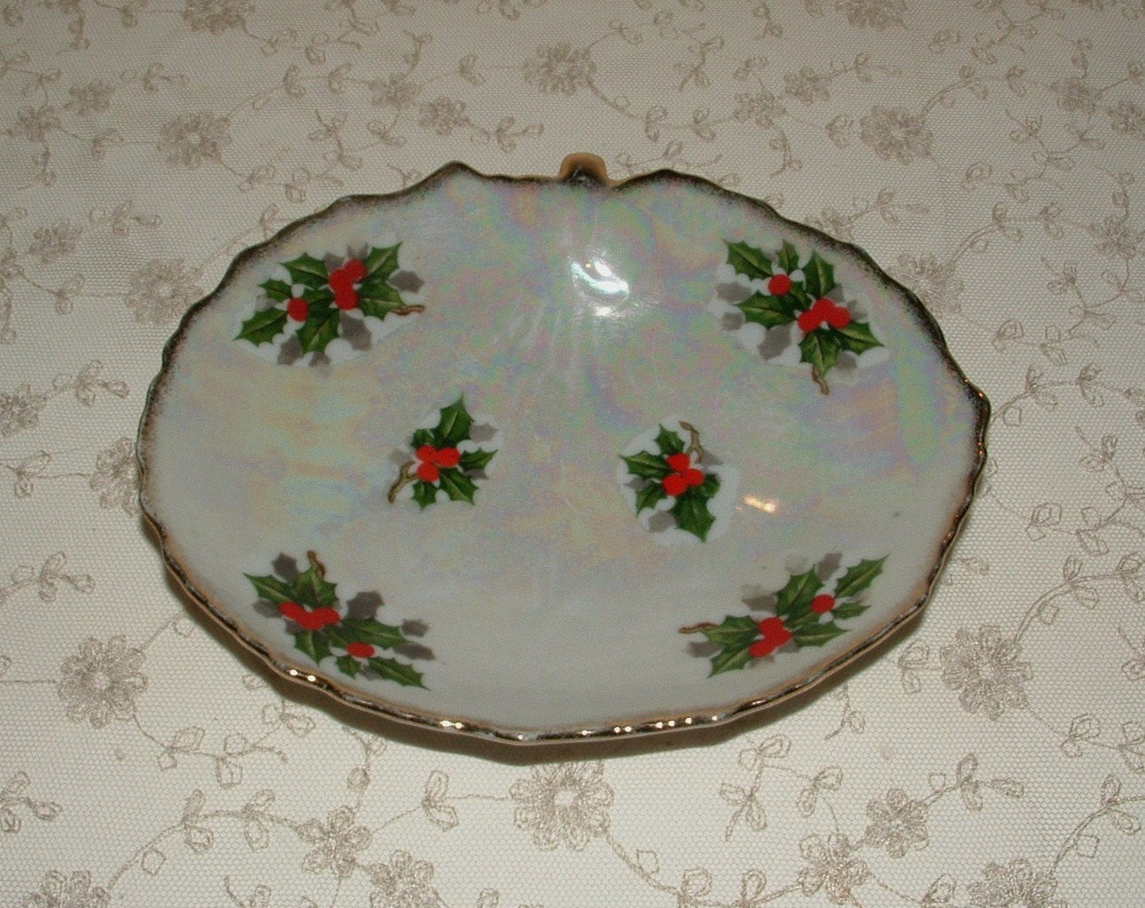 Christmas Candy Dish  Christmas Candy Serving Dish 1940 s Ucagco Holly by